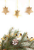 Christmas gold stars Royalty Free Stock Photos