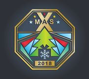 Christmas gold technology badge on a dark background. Different triangle design elements. Xmas emblem Stock Photo