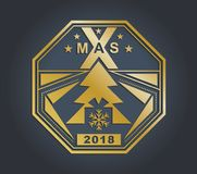 Christmas gold technology badge on a dark background. Gold triangle design elements. Xmas emblem. 2018 Royalty Free Stock Photos