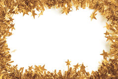 Christmas Gold Tinsel as a border isolated Stock Images