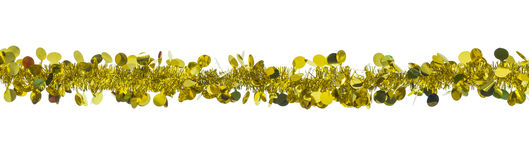 Christmas gold tinsel Stock Images