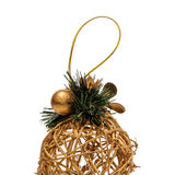 Christmas gold toy isolated on white background Royalty Free Stock Photography