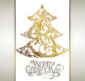 Christmas gold tree Stock Photos