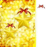 Christmas gold vector background with bow, stars Stock Photography