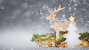 Christmas gold, white decoration, ornaments on silver background with bokeh l stock photography