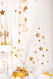 Christmas gold and white decorations Stock Images
