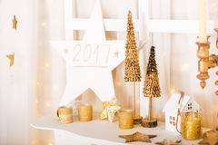 Christmas gold and white decorations stock photos