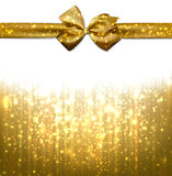 Christmas golden abstract background. Golden winter abstract background. Christmas background with ribbon and bow. Vector Royalty Free Stock Photography