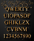 Christmas Golden Alphabet for party flyers Stock Photo