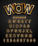 Christmas Golden Alphapet Font to use for children's parties Royalty Free Stock Image