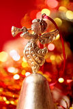 Christmas golden Angel toy playing trumpet  close-up Royalty Free Stock Photography