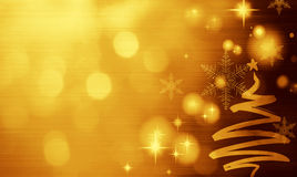 Christmas golden background with Christmas tree. Gold Festive Christmas background with Christmas tree. Elegant abstract background with bokeh defocused lights Royalty Free Stock Images