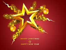 Christmas golden background with star on fir tree branches and d. Ecoration. Vector illustration Royalty Free Stock Images