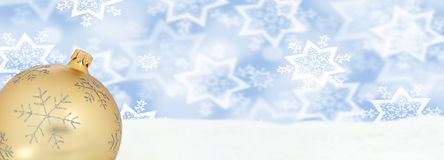 Christmas golden ball banner decoration winter snow background c Stock Image