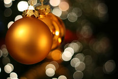 Christmas golden ball card Stock Photography