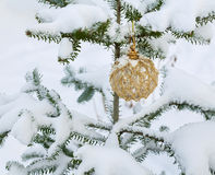 Christmas golden ball Royalty Free Stock Photo