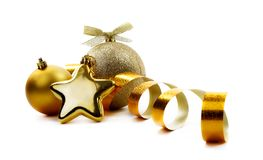 Christmas golden balls Royalty Free Stock Photos