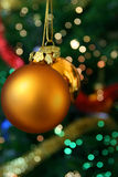 Christmas golden balls. Christmas golden ball with bokeh in the background Royalty Free Stock Image