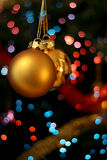Christmas golden balls. Christmas golden ball with bokeh in the background Stock Photo