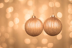 Christmas Golden Balls on abstract background Stock Images