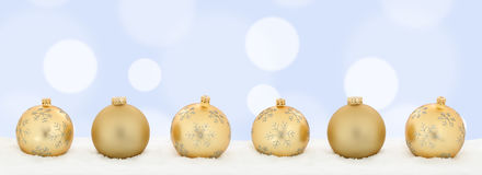 Christmas golden balls banner decoration background copyspace co Royalty Free Stock Photography