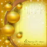 Christmas Golden balls on a Christmas background of glare Royalty Free Stock Photography