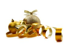 Christmas golden balls d Stock Images