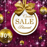 Christmas golden balls on purple background. Paper sale golden christmas balls over purple winter abstract background. Vector illustration with snowflakes and Stock Photo