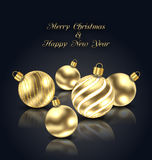Christmas Golden Balls with Reflection on Black Background Stock Photo