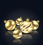 Christmas Golden Balls with Reflection Royalty Free Stock Photo