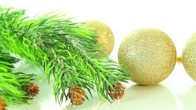 Christmas golden balls and tree on white background stock video footage