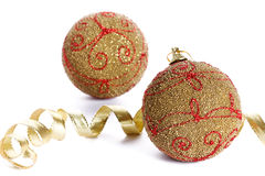 Christmas golden balls on white background Stock Photos