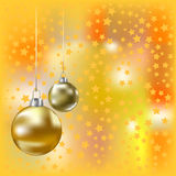 Christmas golden balls and yelow background Stock Photo
