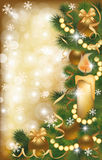 Christmas golden banner vector Royalty Free Stock Images