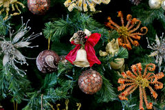 Christmas golden bell on the Christmas tree Stock Photography