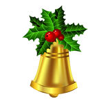 Christmas golden bell holly sprig and berries Stock Photography