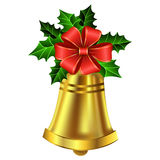 Christmas golden bell holly sprig and bow Stock Photos