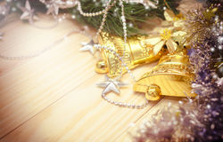 Christmas golden bells decoration Stock Photos
