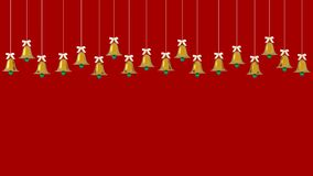 Christmas golden bells ornaments hanging on red background. picture copy space for art work design ad or add text message. Holiday royalty free illustration