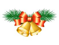 Christmas golden bells with red bows. Stock Photos