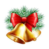 Christmas golden bells Stock Photos