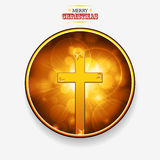 Christmas golden border with gold Cross and stars Royalty Free Stock Photo