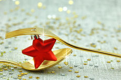 Christmas golden cutlery Royalty Free Stock Photo