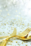 Christmas golden cutlery Royalty Free Stock Image