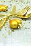 Christmas golden cutlery Stock Images