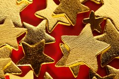 Christmas golden decoration with gold star Royalty Free Stock Photo