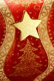 Christmas golden decoration with gold star Royalty Free Stock Image