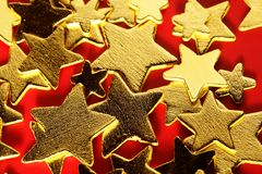 Christmas golden decoration with gold star Stock Images