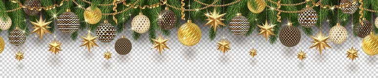 Christmas golden decoration and Christmas tree branches on a checkered background. Can be used on any background. Seamless frieze. Vector illustration royalty free illustration