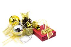 Christmas golden decorations on white background. Stock Photography